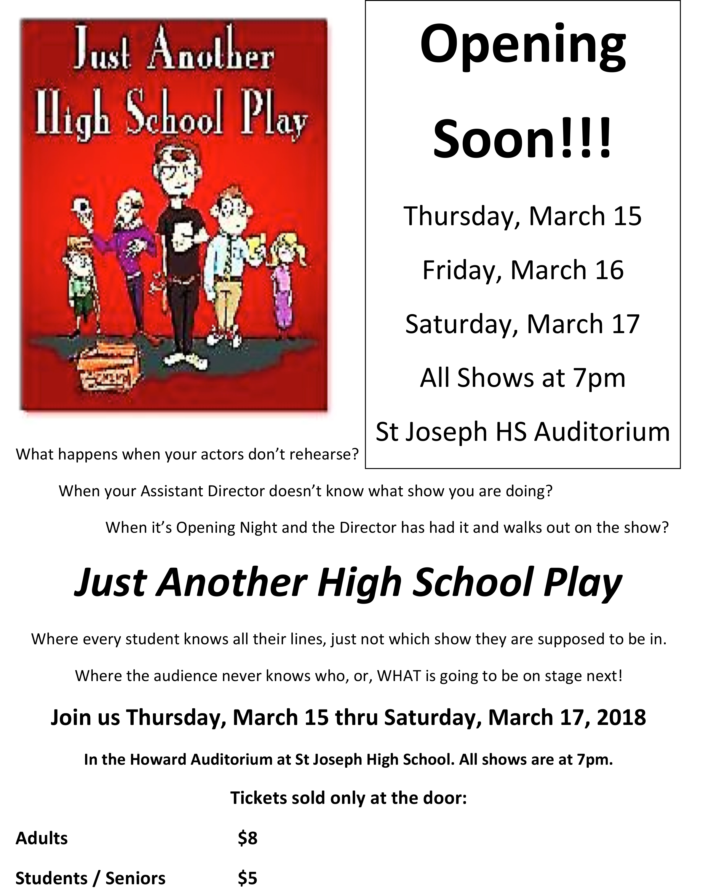 2018 St Joseph HS All School Play Flyer 3