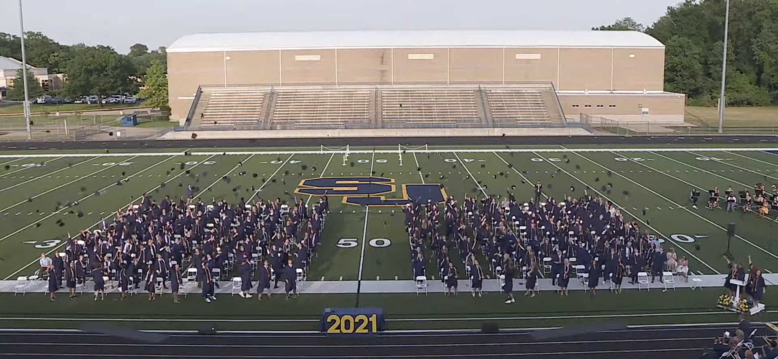 class of 2021 throwing caps into air